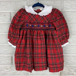 Baby Togs Vintage Baby Dress 12 Months Red Plaid